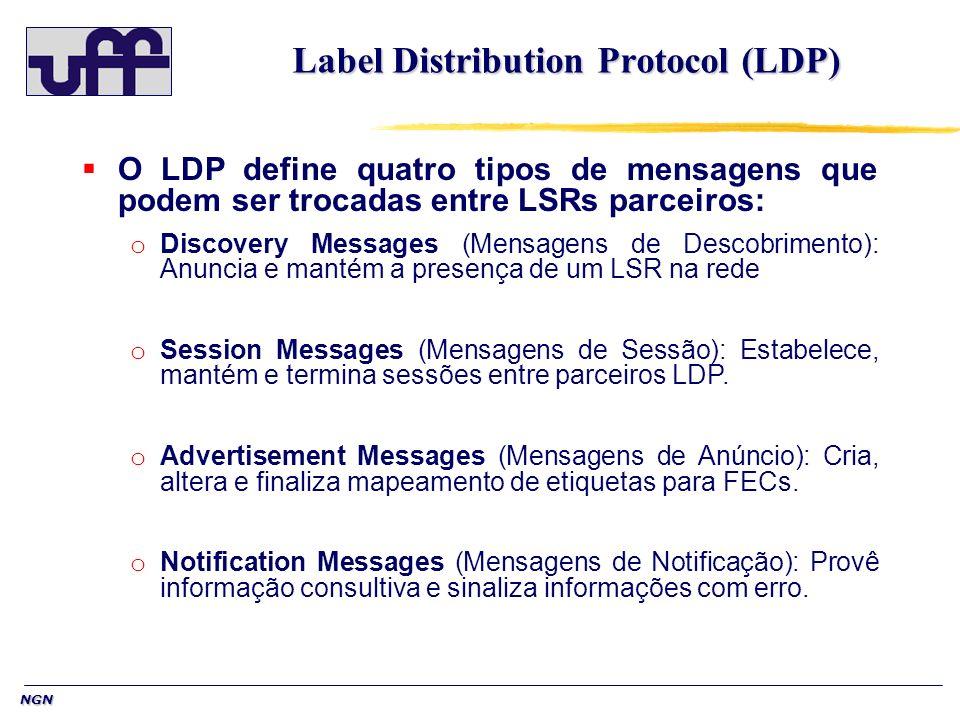 NGN Label Distribution Protocol (LDP) O LDP define quatro tipos de mensagens que podem ser trocadas entre LSRs parceiros: o Discovery Messages (Mensagens de Descobrimento): Anuncia e mantém a presença de um LSR na rede o Session Messages (Mensagens de Sessão): Estabelece, mantém e termina sessões entre parceiros LDP.