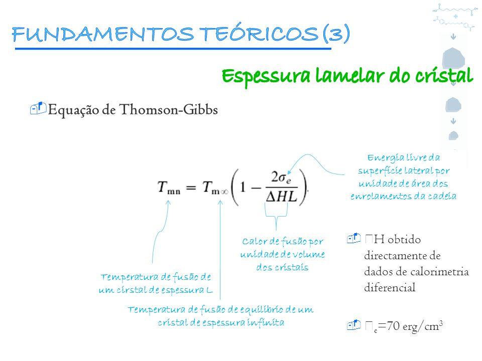 Equação de Thomson-Gibbs Temperatura de fusão de um cirstal de espessura L Temperatura de fusão de equilibrio de um cristal de espessura infinita Calo