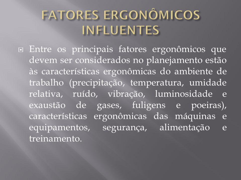Entre os principais fatores ergonômicos que devem ser considerados no planejamento estão às características ergonômicas do ambiente de trabalho (preci