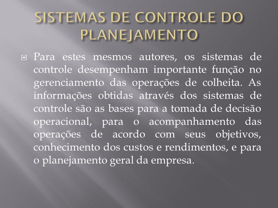 Para estes mesmos autores, os sistemas de controle desempenham importante função no gerenciamento das operações de colheita. As informações obtidas at
