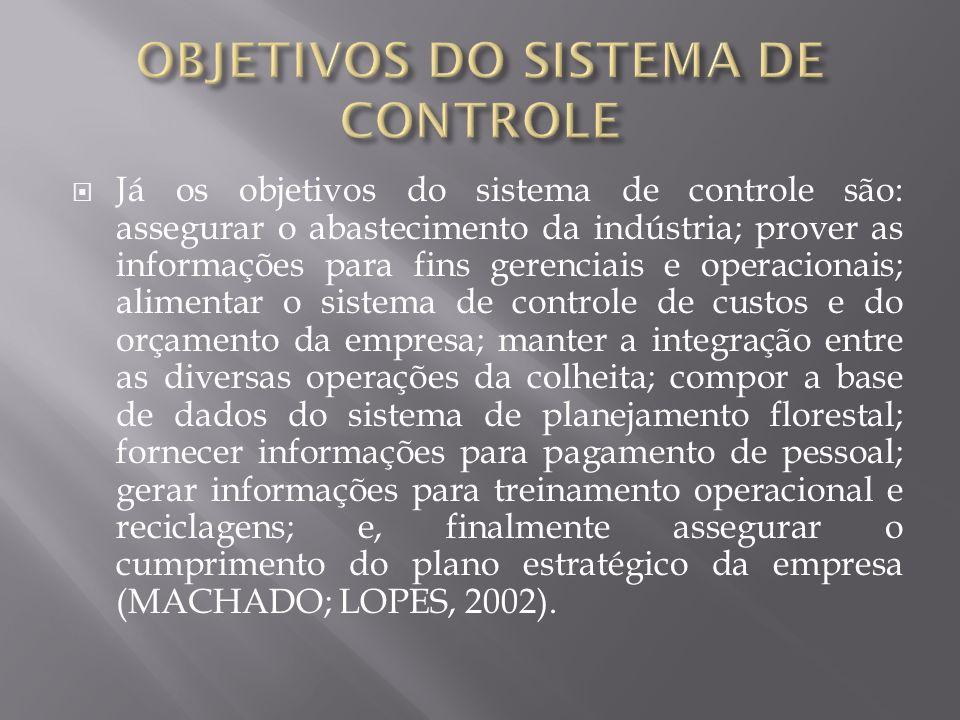 Já os objetivos do sistema de controle são: assegurar o abastecimento da indústria; prover as informações para fins gerenciais e operacionais; aliment