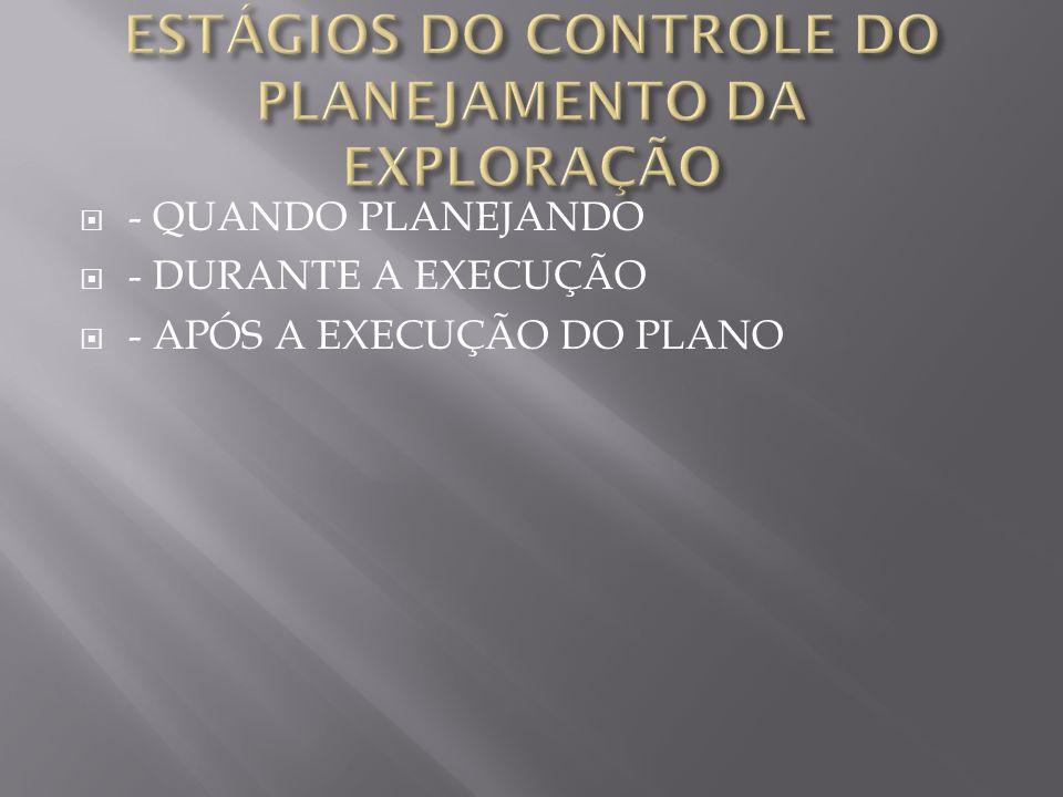 - QUANDO PLANEJANDO - DURANTE A EXECUÇÃO - APÓS A EXECUÇÃO DO PLANO