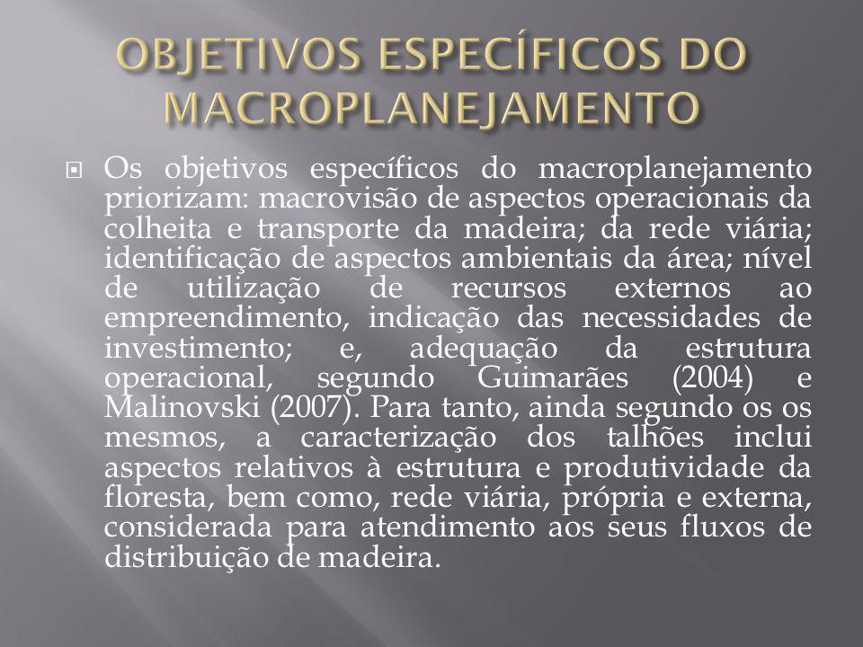 Os objetivos específicos do macroplanejamento priorizam: macrovisão de aspectos operacionais da colheita e transporte da madeira; da rede viária; iden