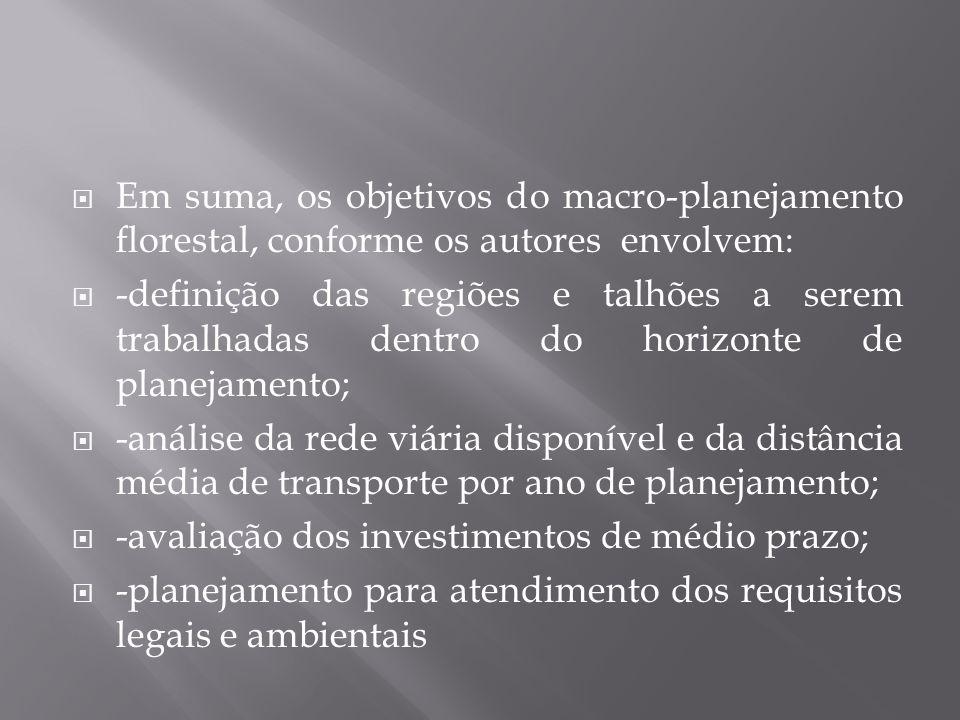Em suma, os objetivos do macro-planejamento florestal, conforme os autores envolvem: -definição das regiões e talhões a serem trabalhadas dentro do ho