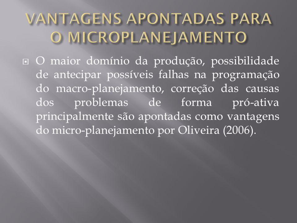 O maior domínio da produção, possibilidade de antecipar possíveis falhas na programação do macro-planejamento, correção das causas dos problemas de fo