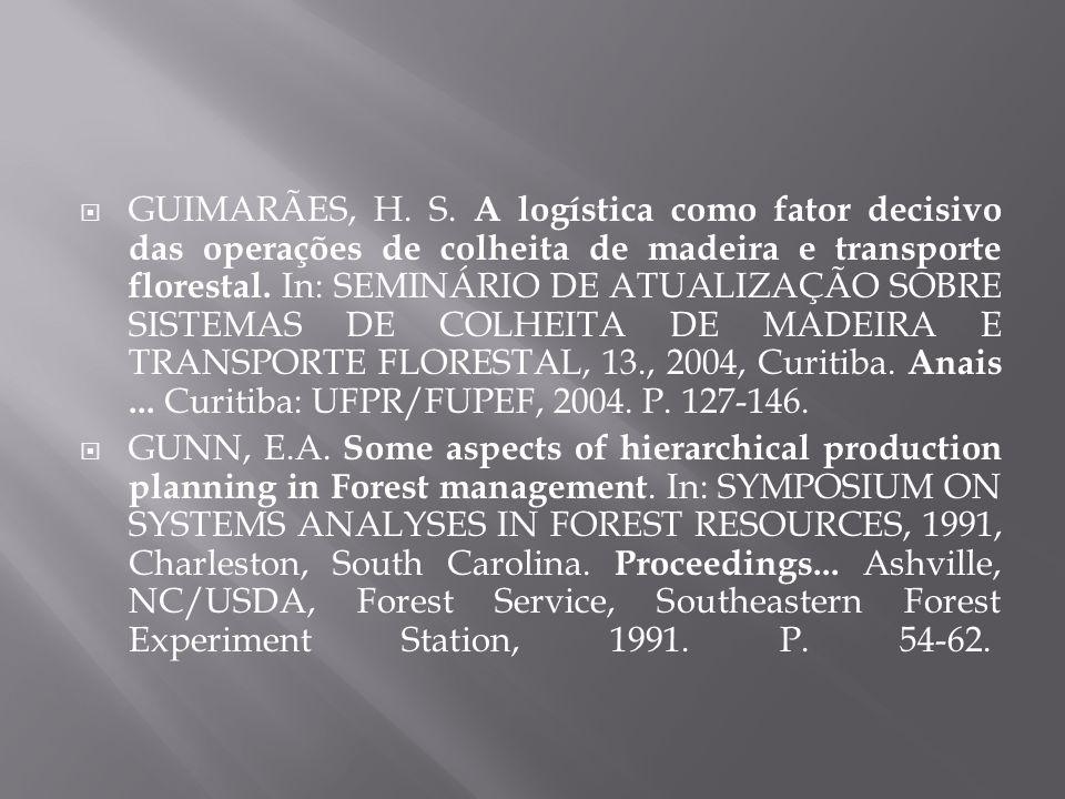GUIMARÃES, H. S. A logística como fator decisivo das operações de colheita de madeira e transporte florestal. In: SEMINÁRIO DE ATUALIZAÇÃO SOBRE SISTE
