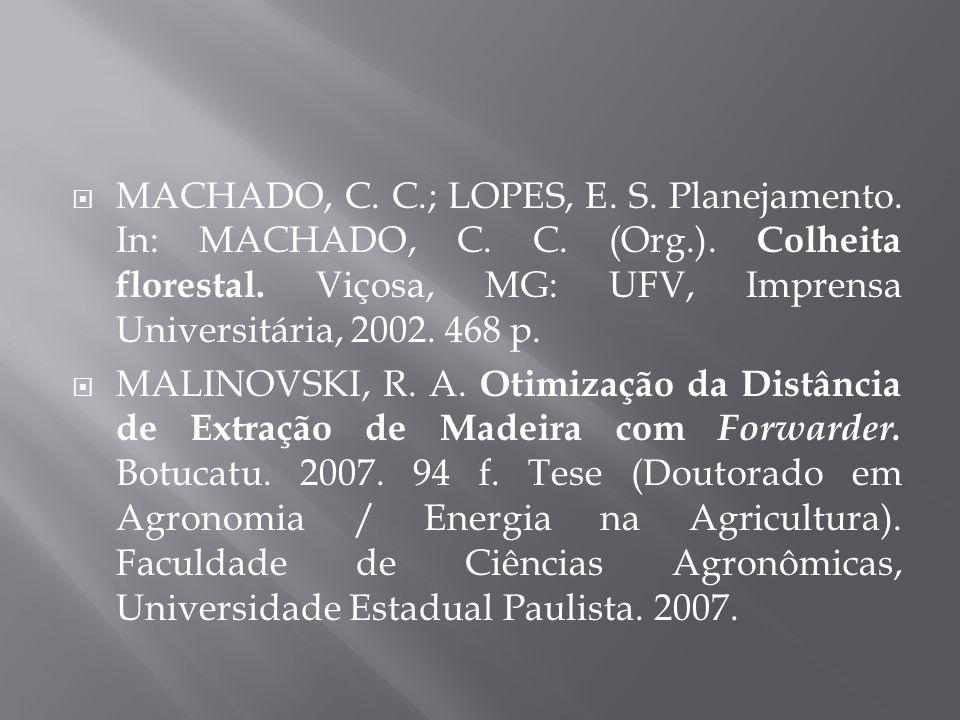 MACHADO, C. C.; LOPES, E. S. Planejamento. In: MACHADO, C. C. (Org.). Colheita florestal. Viçosa, MG: UFV, Imprensa Universitária, 2002. 468 p. MALINO