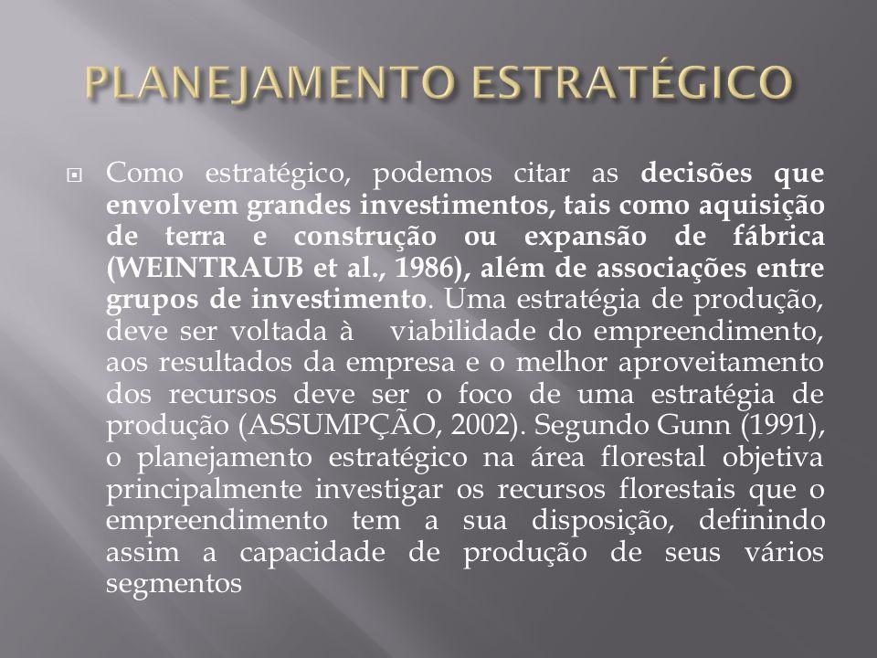 Como estratégico, podemos citar as decisões que envolvem grandes investimentos, tais como aquisição de terra e construção ou expansão de fábrica (WEIN