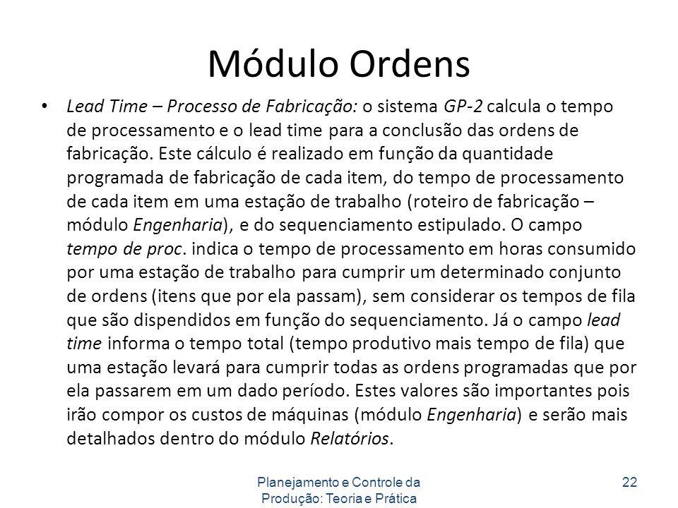 Módulo Ordens Lead Time – Processo de Fabricação: o sistema GP-2 calcula o tempo de processamento e o lead time para a conclusão das ordens de fabricação.