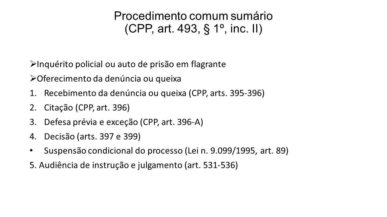 Procedimento comum sumário (CPP, art. 493, § 1º, inc. II) Inquérito policial ou auto de prisão em flagrante Oferecimento da denúncia ou queixa 1.Receb