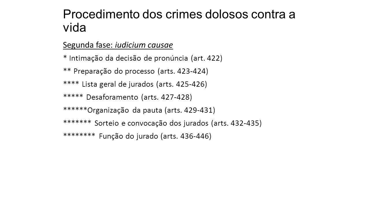 Procedimento dos crimes dolosos contra a vida Segunda fase: iudicium causae * Intimação da decisão de pronúncia (art. 422) ** Preparação do processo (