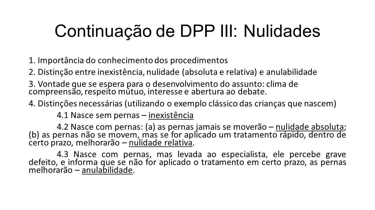 Continuação de DPP III: Nulidades 1. Importância do conhecimento dos procedimentos 2. Distinção entre inexistência, nulidade (absoluta e relativa) e a