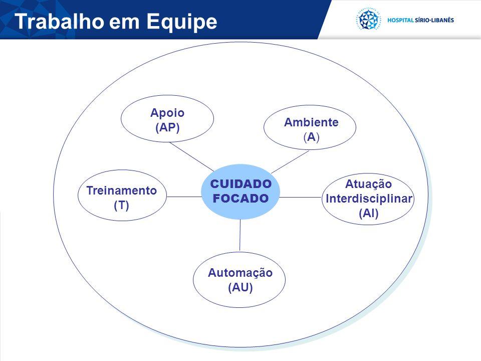 Trabalho em Equipe CUIDADO FOCADO Apoio (AP) Ambiente (A) Atuação Interdisciplinar (AI) Treinamento (T) Automação (AU)