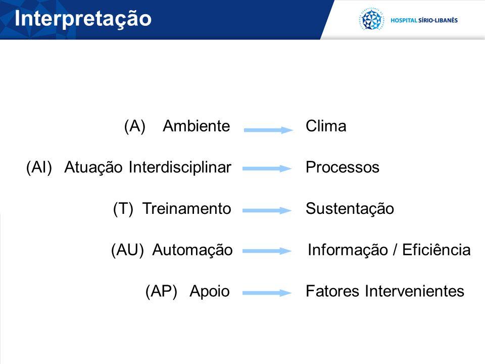 (A) Ambiente Clima (AI) Atuação Interdisciplinar Processos (T) Treinamento Sustentação (AU) AutomaçãoInformação / Eficiência (AP) Apoio Fatores Intervenientes Interpretação