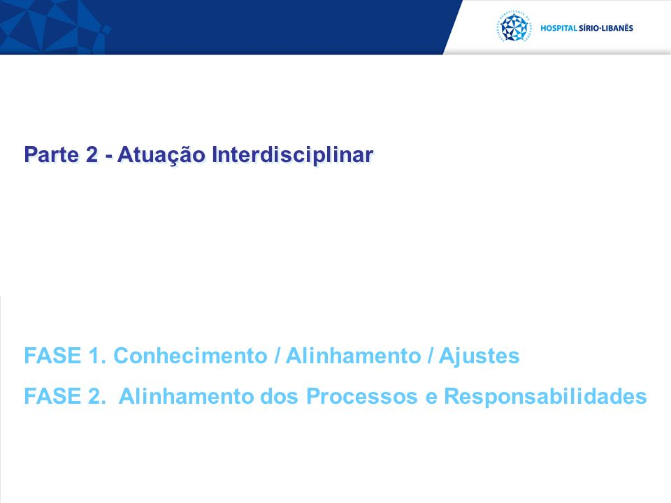 Parte 2 - Atuação Interdisciplinar FASE 1. Conhecimento / Alinhamento / Ajustes FASE 2. Alinhamento dos Processos e Responsabilidades