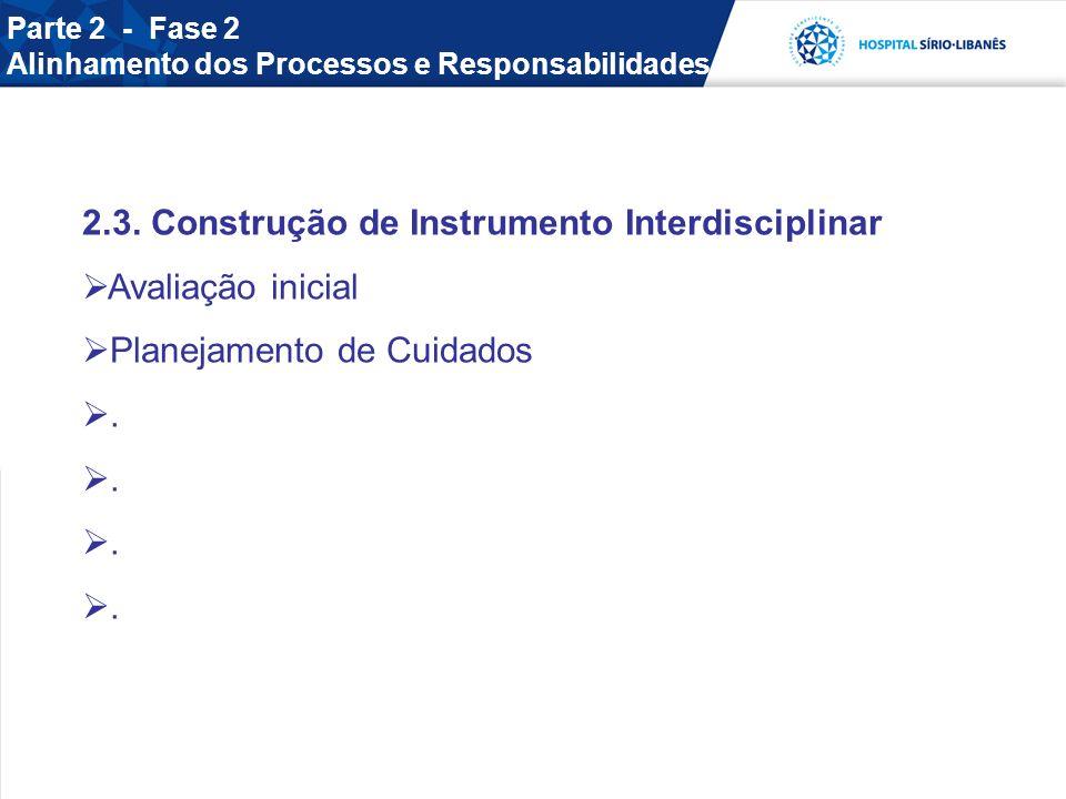 2.3. Construção de Instrumento Interdisciplinar Avaliação inicial Planejamento de Cuidados. Parte 2 - Fase 2 Alinhamento dos Processos e Responsabilid