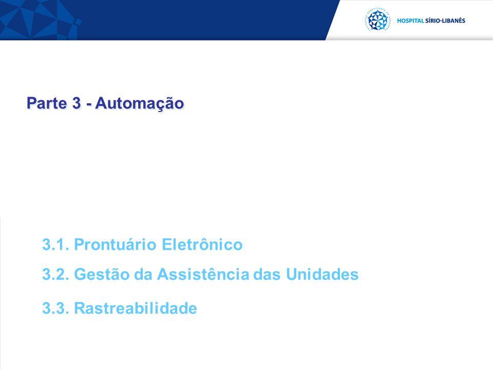 Parte 3 - Automação 3.1. Prontuário Eletrônico 3.2. Gestão da Assistência das Unidades 3.3. Rastreabilidade