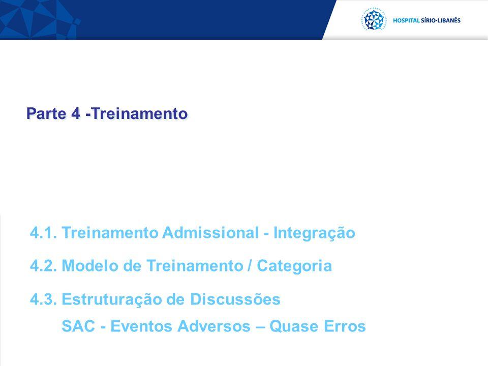 Parte 4 -Treinamento 4.1. Treinamento Admissional - Integração 4.2. Modelo de Treinamento / Categoria 4.3. Estruturação de Discussões SAC - Eventos Ad