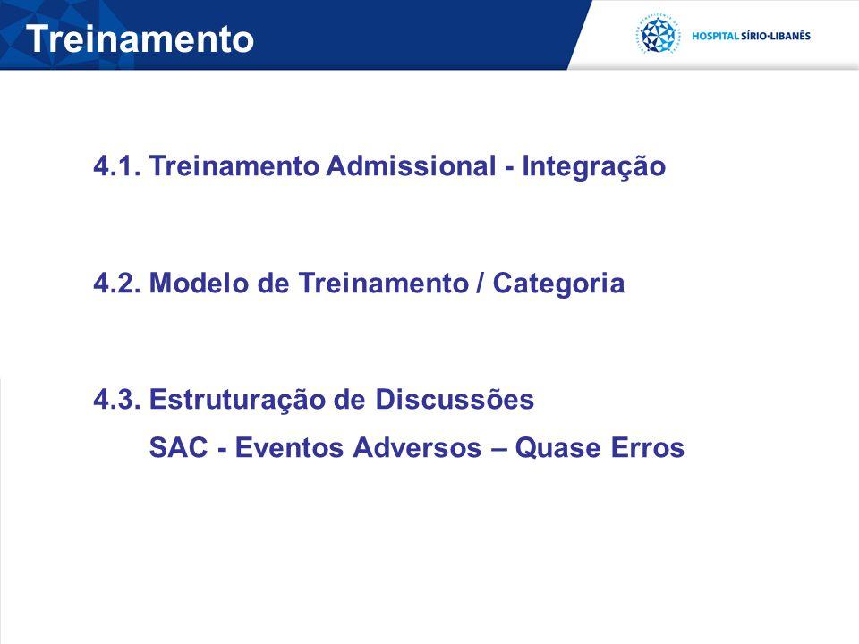 4.1. Treinamento Admissional - Integração 4.2. Modelo de Treinamento / Categoria 4.3. Estruturação de Discussões SAC - Eventos Adversos – Quase Erros