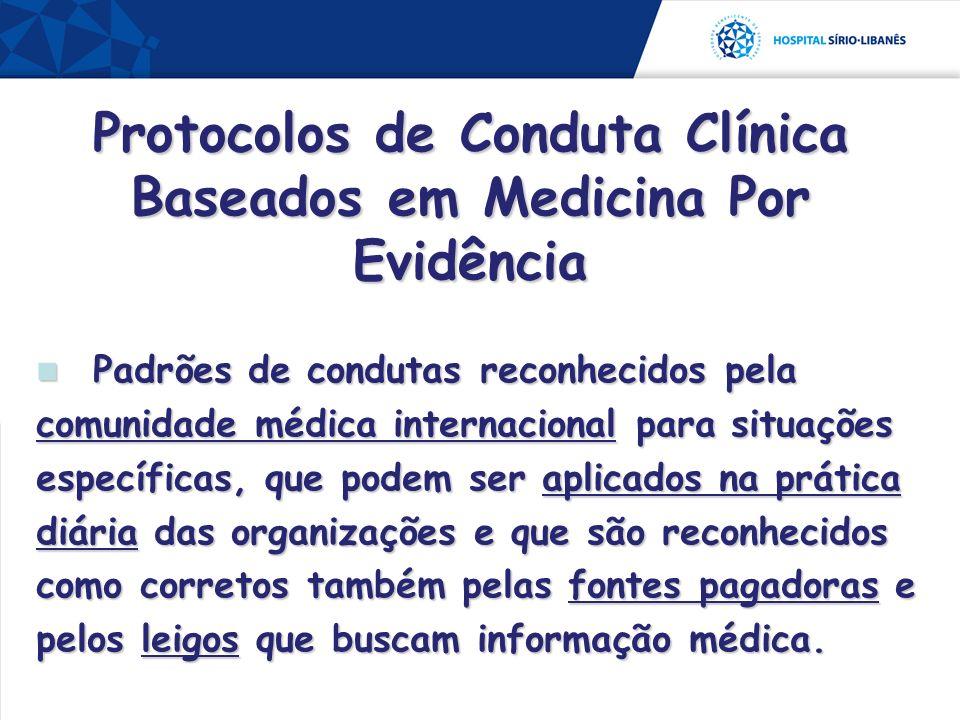 Padrões de condutas reconhecidos pela comunidade médica internacional para situações específicas, que podem ser aplicados na prática diária das organi