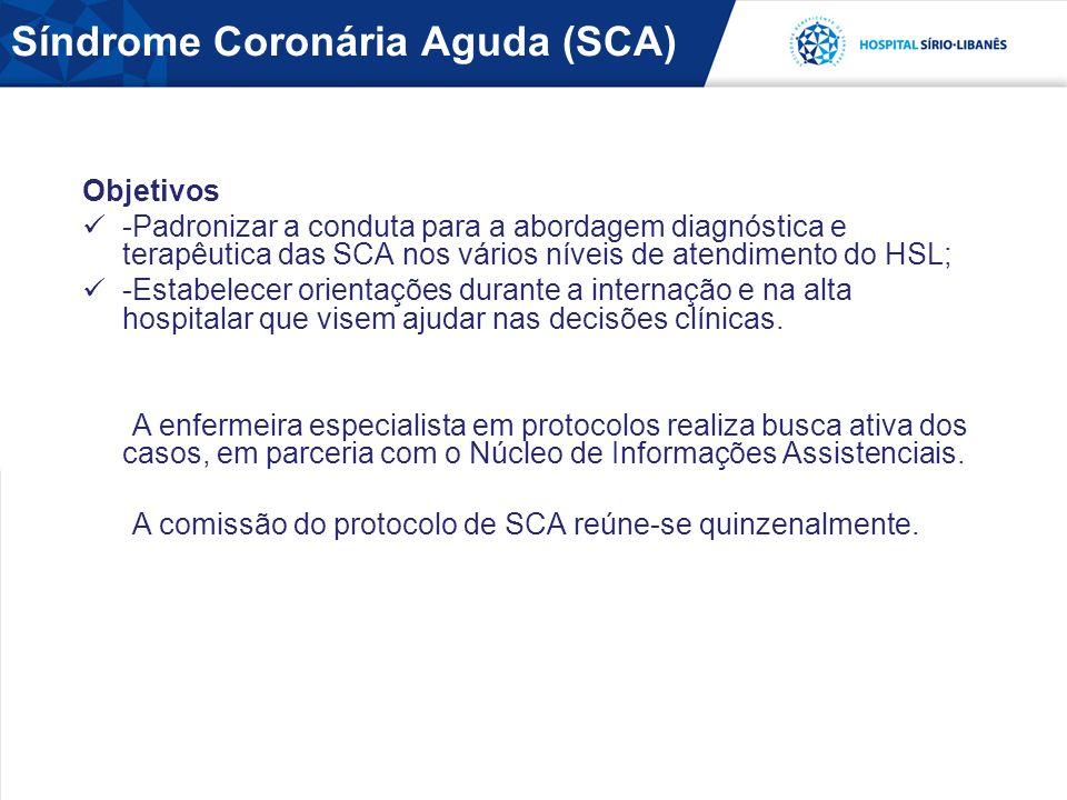 Síndrome Coronária Aguda (SCA) Objetivos -Padronizar a conduta para a abordagem diagnóstica e terapêutica das SCA nos vários níveis de atendimento do HSL; -Estabelecer orientações durante a internação e na alta hospitalar que visem ajudar nas decisões clínicas.