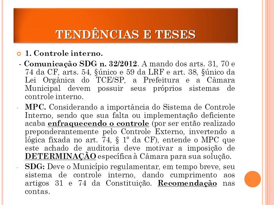 TENDÊNCIAS E TESES 1.Controle interno. - Comunicação SDG n.