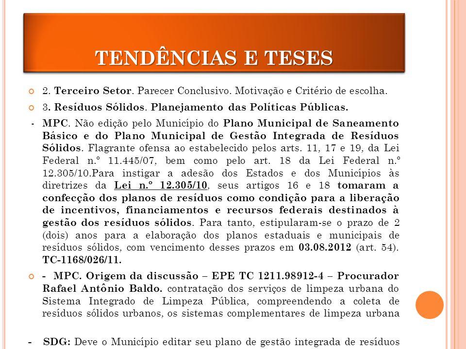 TENDÊNCIAS E TESES 2.Terceiro Setor. Parecer Conclusivo.