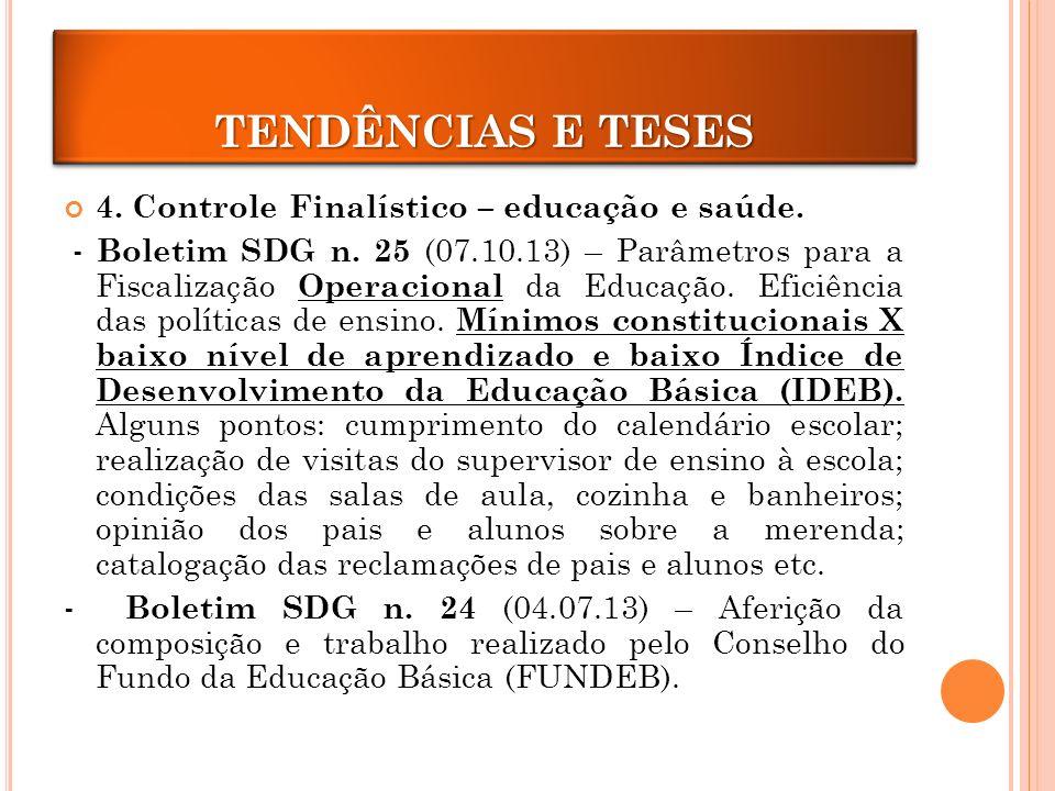 4.Controle Finalístico – educação e saúde. - Boletim SDG n.