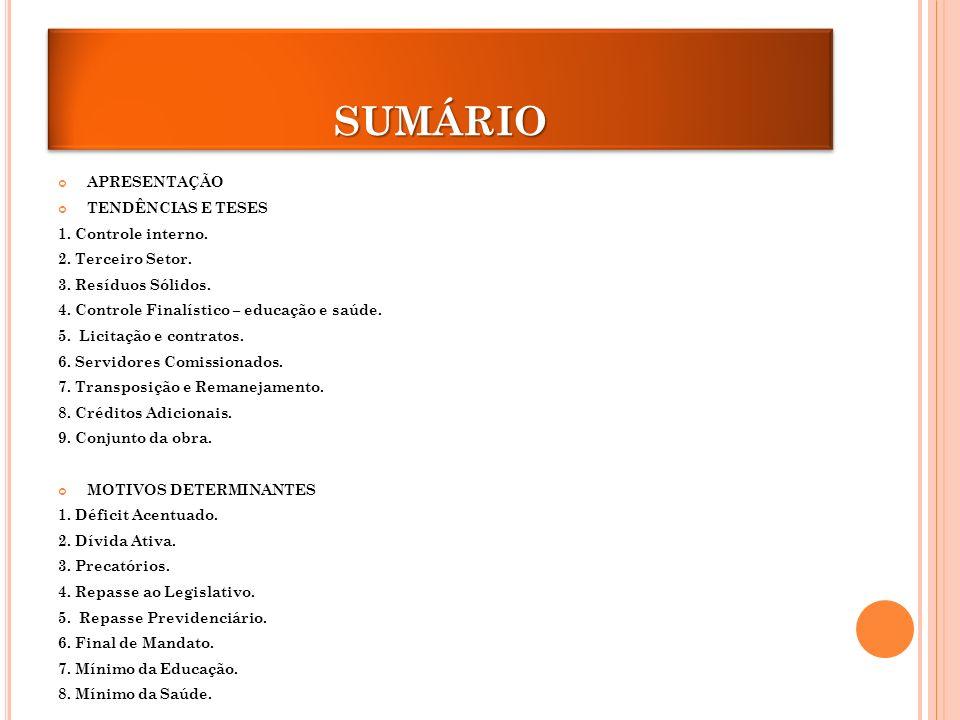 SUMÁRIOSUMÁRIO APRESENTAÇÃO TENDÊNCIAS E TESES 1.Controle interno.