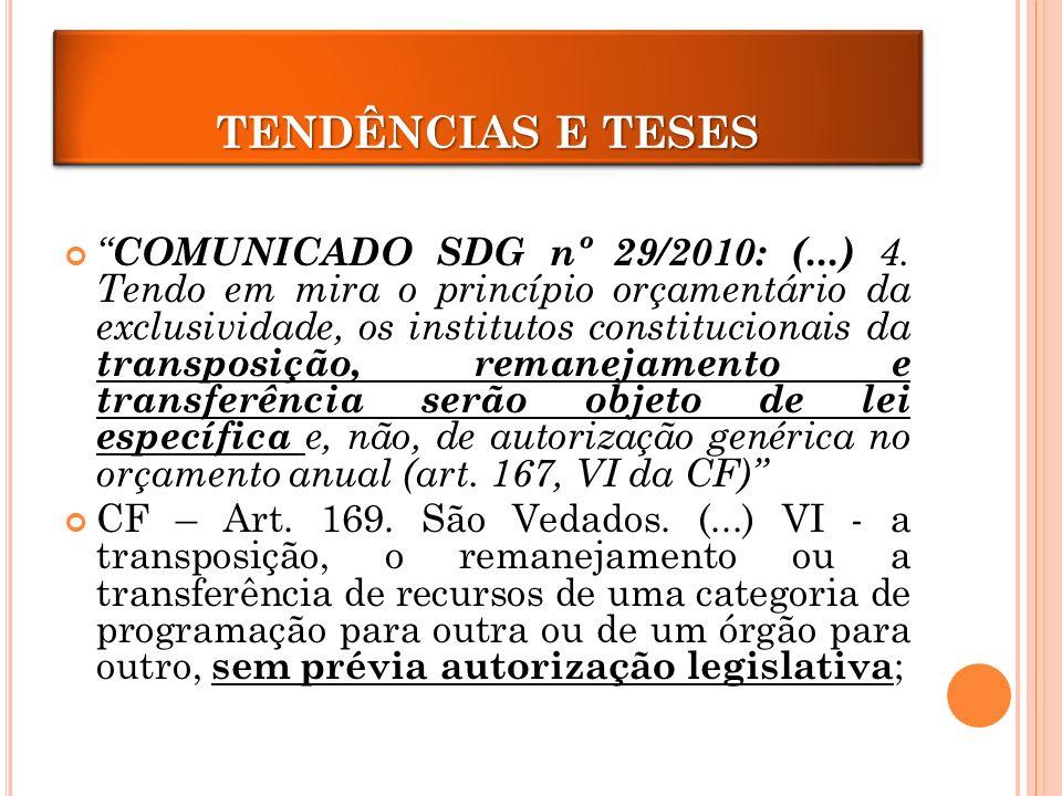 TRANPOSIÇÃO E REMANEJAMENTO COMUNICADO SDG nº 29/2010: (...) 4.
