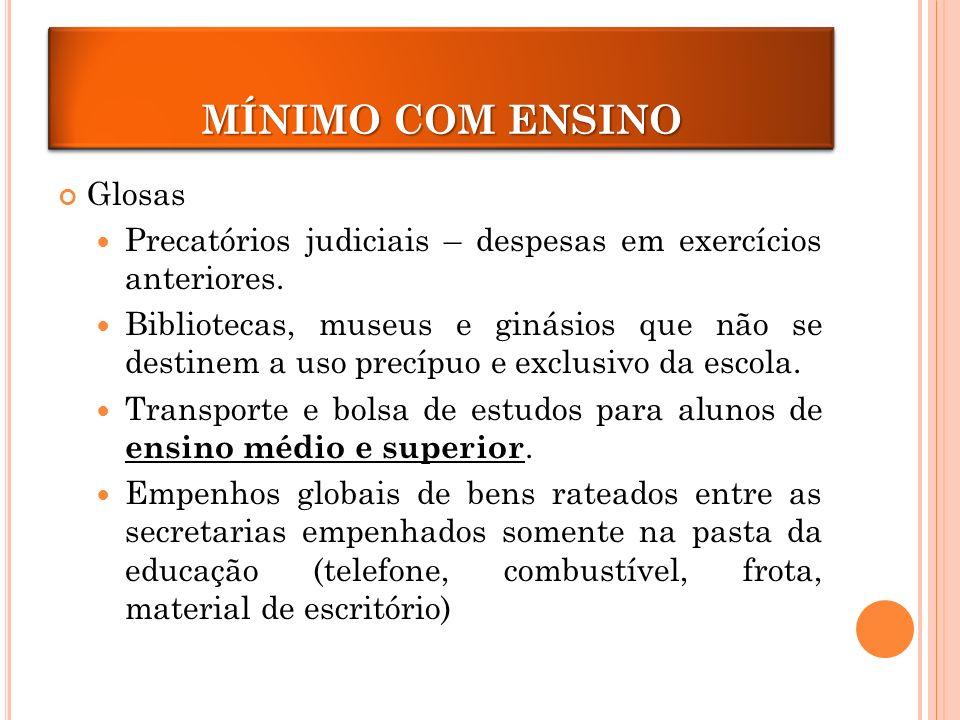 MÍNIMOS COM ENSINO Glosas Precatórios judiciais – despesas em exercícios anteriores.