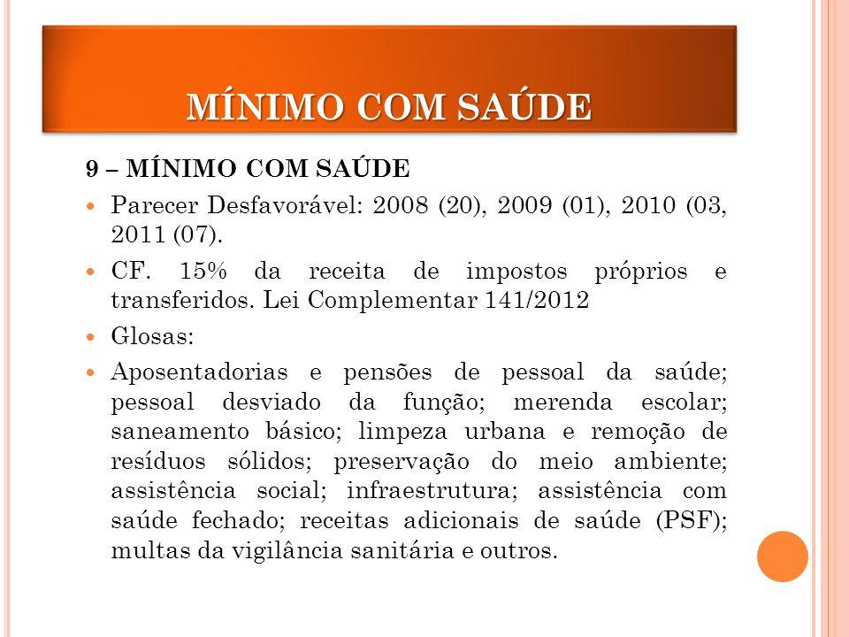 MÍNIMO COM SAÚDE 9 – MÍNIMO COM SAÚDE Parecer Desfavorável: 2008 (20), 2009 (01), 2010 (03, 2011 (07).