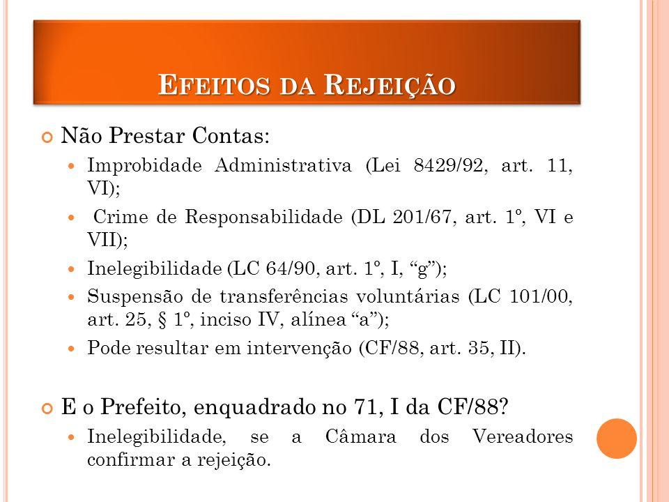 E FEITOS DA R EJEIÇÃO Não Prestar Contas: Improbidade Administrativa (Lei 8429/92, art.