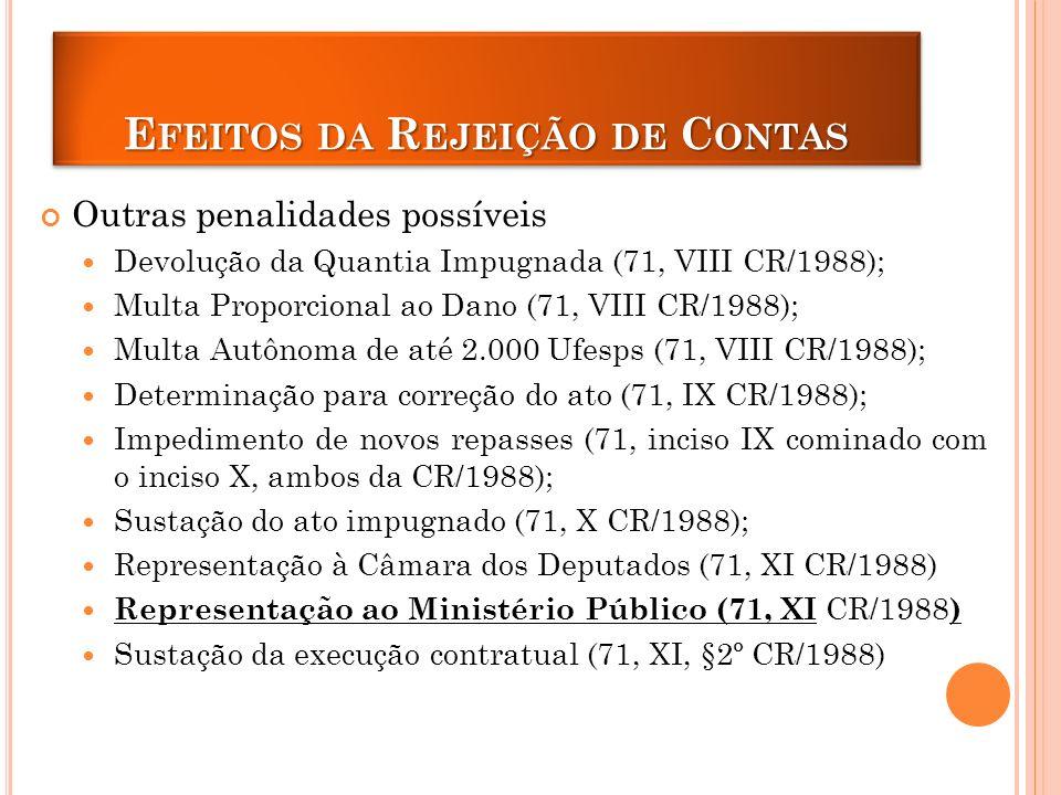 E FEITOS DA R EJEIÇÃO DE C ONTAS Outras penalidades possíveis Devolução da Quantia Impugnada (71, VIII CR/1988); Multa Proporcional ao Dano (71, VIII CR/1988); Multa Autônoma de até 2.000 Ufesps (71, VIII CR/1988); Determinação para correção do ato (71, IX CR/1988); Impedimento de novos repasses (71, inciso IX cominado com o inciso X, ambos da CR/1988); Sustação do ato impugnado (71, X CR/1988); Representação à Câmara dos Deputados (71, XI CR/1988) Representação ao Ministério Público (71, XI CR/1988 ) Sustação da execução contratual (71, XI, §2º CR/1988)