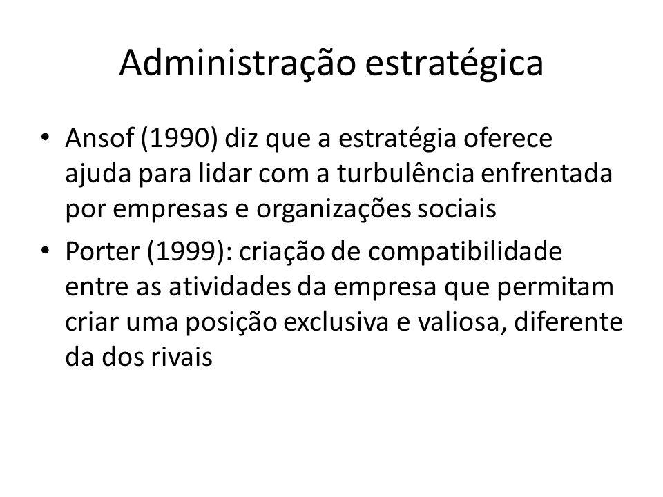 Administração estratégica Ansof (1990) diz que a estratégia oferece ajuda para lidar com a turbulência enfrentada por empresas e organizações sociais