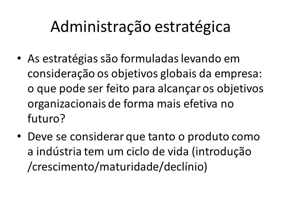 Administração estratégica As estratégias são formuladas levando em consideração os objetivos globais da empresa: o que pode ser feito para alcançar os