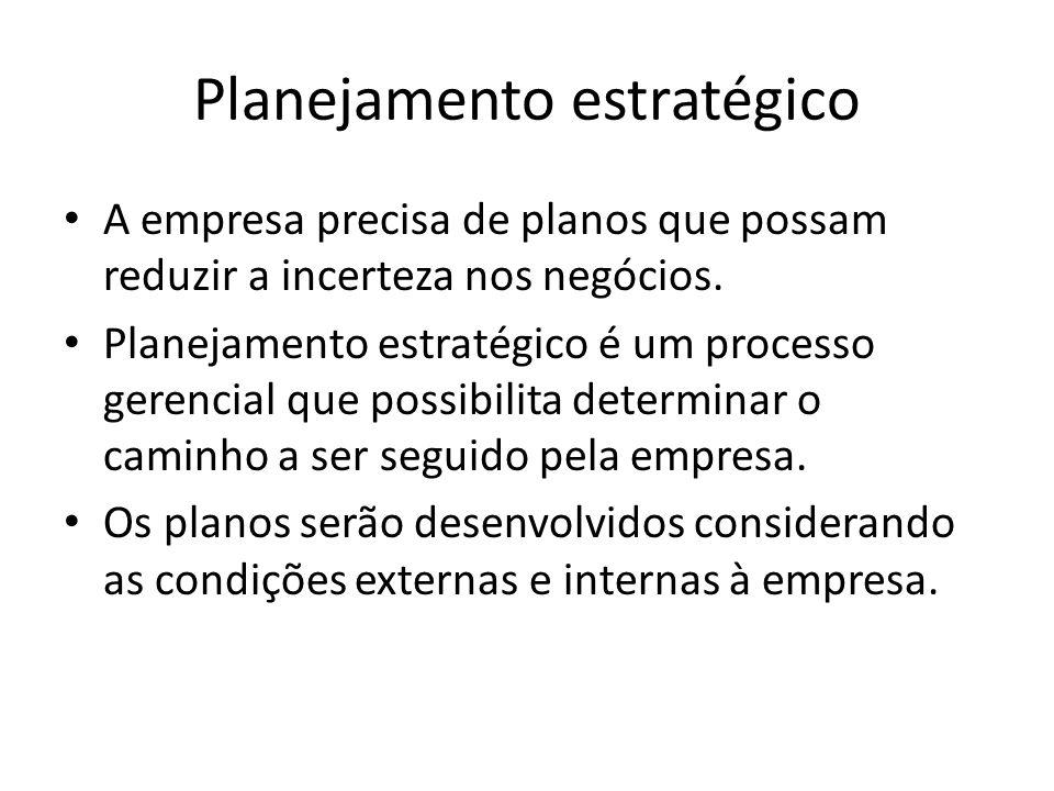 Planejamento estratégico A empresa precisa de planos que possam reduzir a incerteza nos negócios. Planejamento estratégico é um processo gerencial que