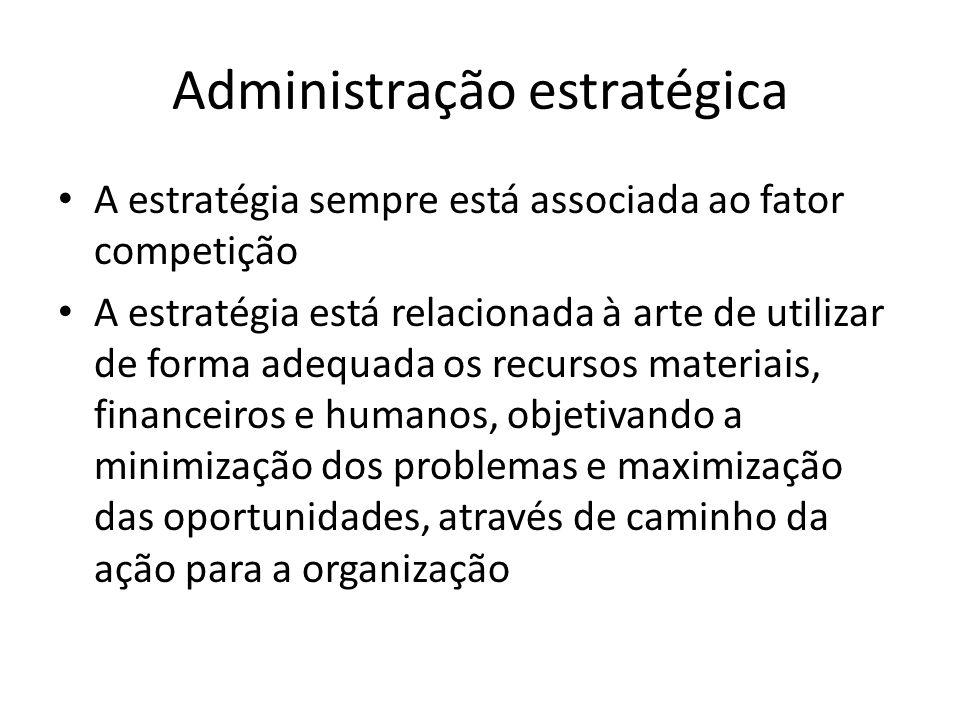 Administração estratégica A estratégia sempre está associada ao fator competição A estratégia está relacionada à arte de utilizar de forma adequada os