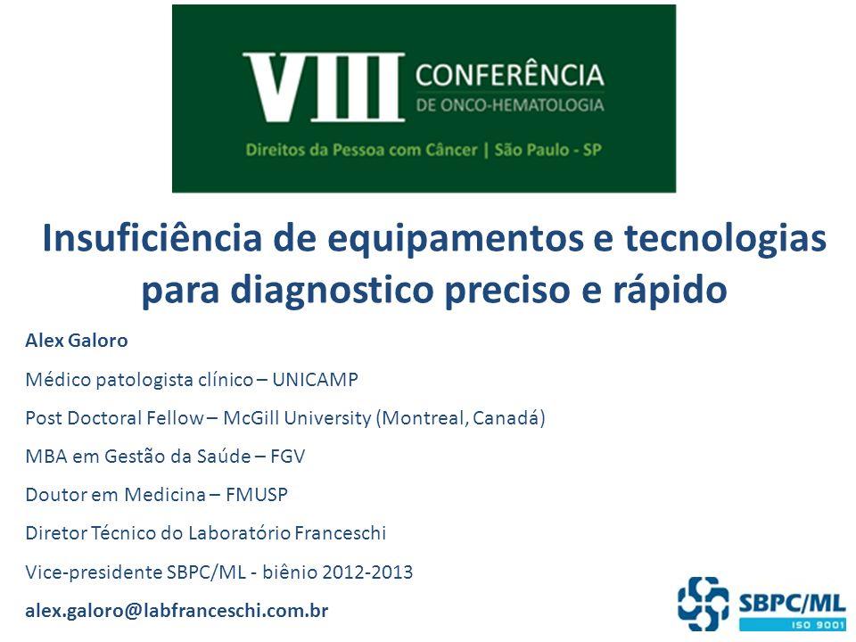 Insuficiência de equipamentos e tecnologias para diagnostico preciso e rápido Alex Galoro Médico patologista clínico – UNICAMP Post Doctoral Fellow –