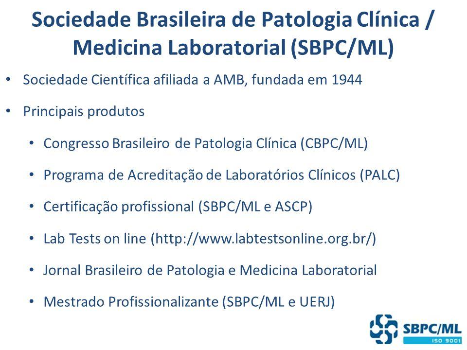 Sociedade Brasileira de Patologia Clínica / Medicina Laboratorial (SBPC/ML) Sociedade Científica afiliada a AMB, fundada em 1944 Principais produtos C