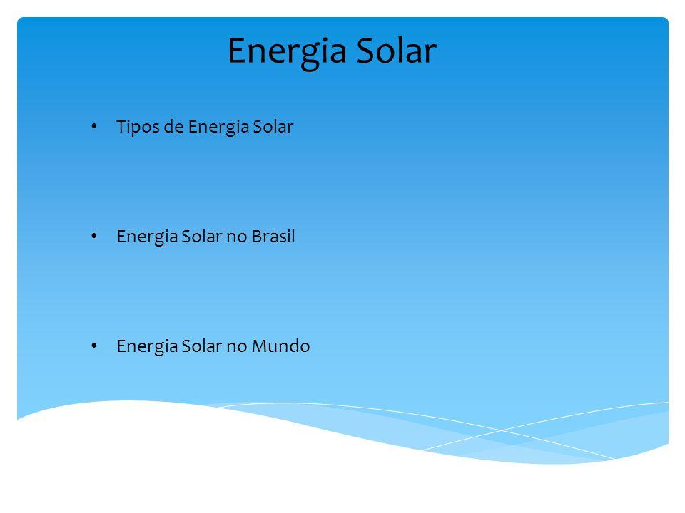 Energia Solar Tipos de Energia Solar Energia Solar no Brasil Energia Solar no Mundo