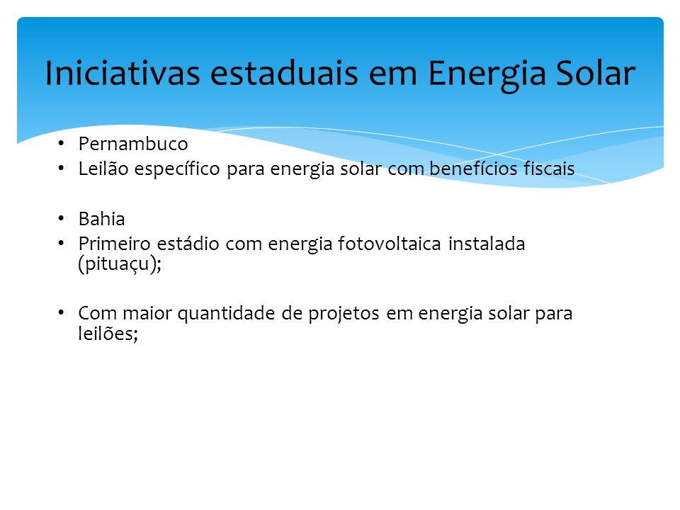 Pernambuco Leilão específico para energia solar com benefícios fiscais Bahia Primeiro estádio com energia fotovoltaica instalada (pituaçu); Com maior