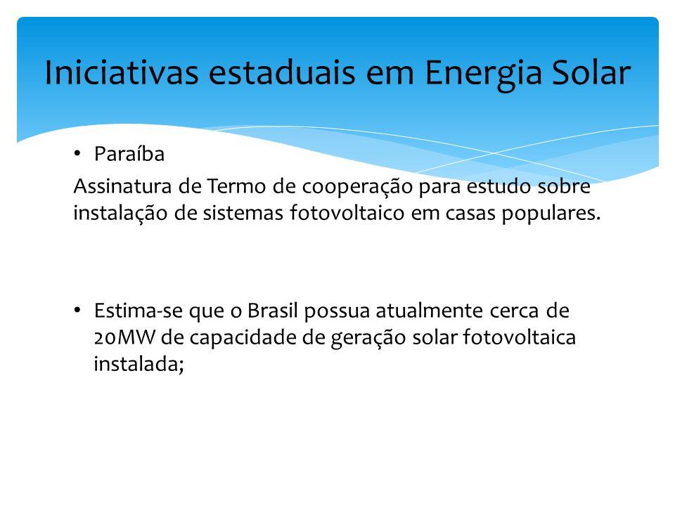 Paraíba Assinatura de Termo de cooperação para estudo sobre instalação de sistemas fotovoltaico em casas populares. Estima-se que o Brasil possua atua