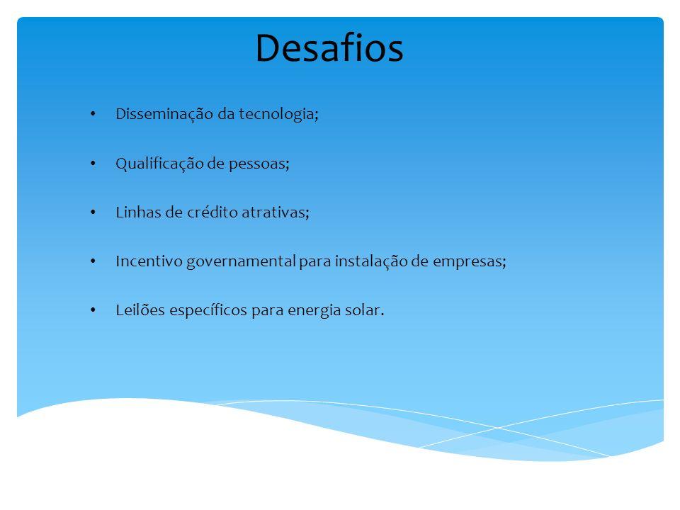 Desafios Disseminação da tecnologia; Qualificação de pessoas; Linhas de crédito atrativas; Incentivo governamental para instalação de empresas; Leilõe