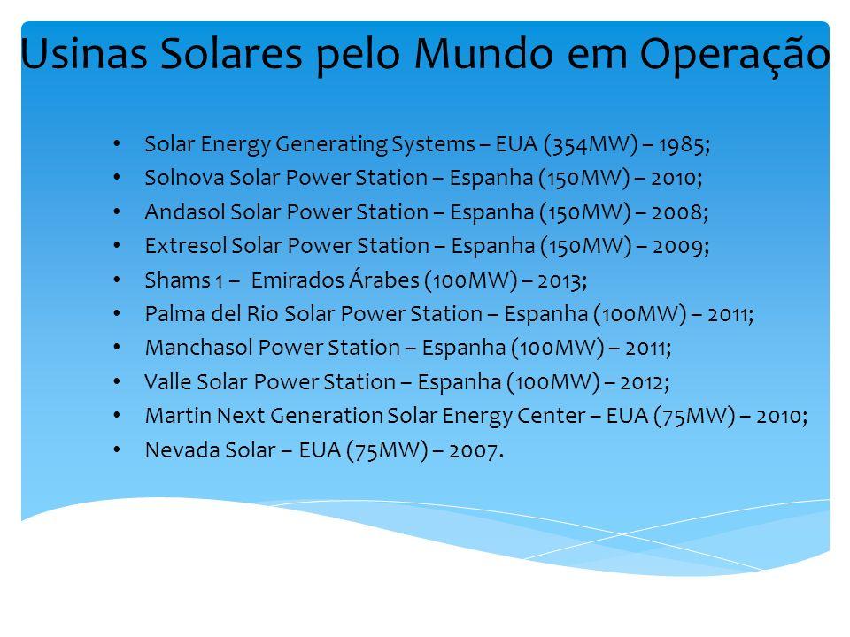 Usinas Solares pelo Mundo em Operação Solar Energy Generating Systems – EUA (354MW) – 1985; Solnova Solar Power Station – Espanha (150MW) – 2010; Anda