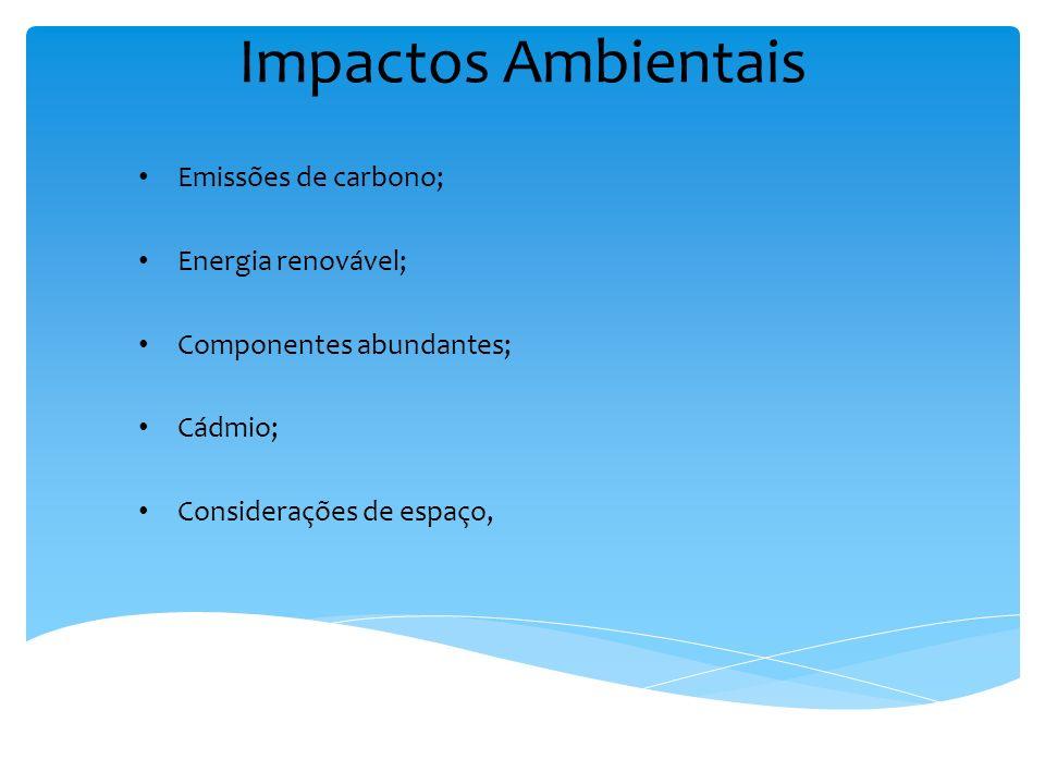 Impactos Ambientais Emissões de carbono; Energia renovável; Componentes abundantes; Cádmio; Considerações de espaço,