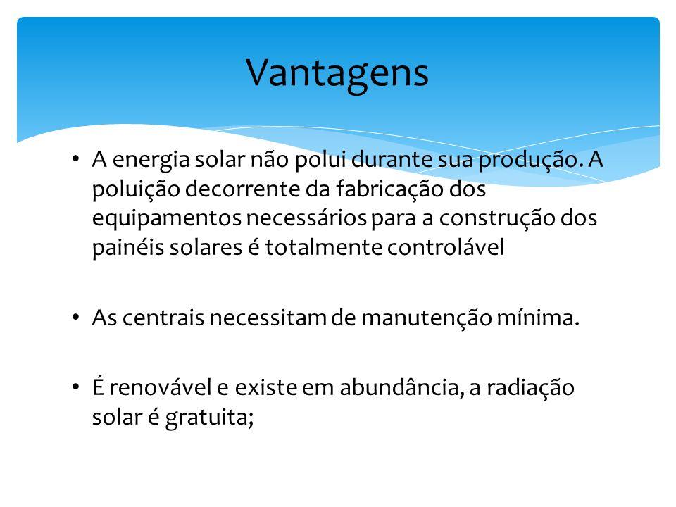 A energia solar não polui durante sua produção. A poluição decorrente da fabricação dos equipamentos necessários para a construção dos painéis solares
