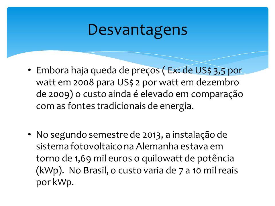 Embora haja queda de preços ( Ex: de US$ 3,5 por watt em 2008 para US$ 2 por watt em dezembro de 2009) o custo ainda é elevado em comparação com as fo