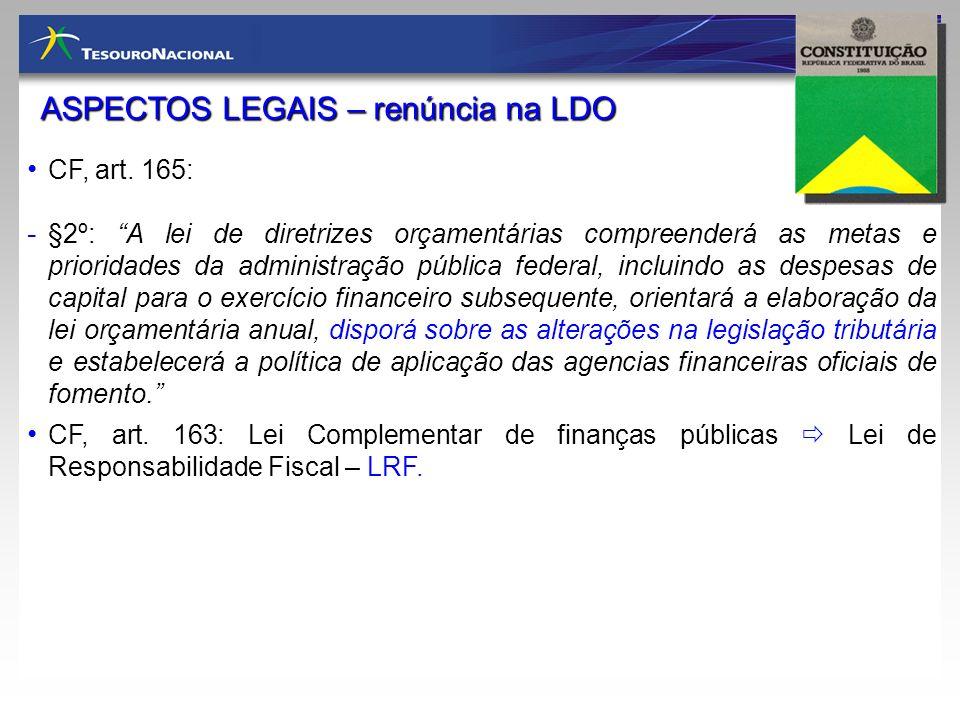 ASPECTOS LEGAIS – renúncia na LDO CF, art. 165: - §2º: A lei de diretrizes orçamentárias compreenderá as metas e prioridades da administração pública