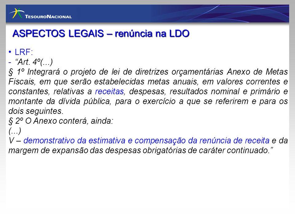 ASPECTOS LEGAIS – renúncia na LDO LRF: - Art. 4º(...) § 1º Integrará o projeto de lei de diretrizes orçamentárias Anexo de Metas Fiscais, em que serão